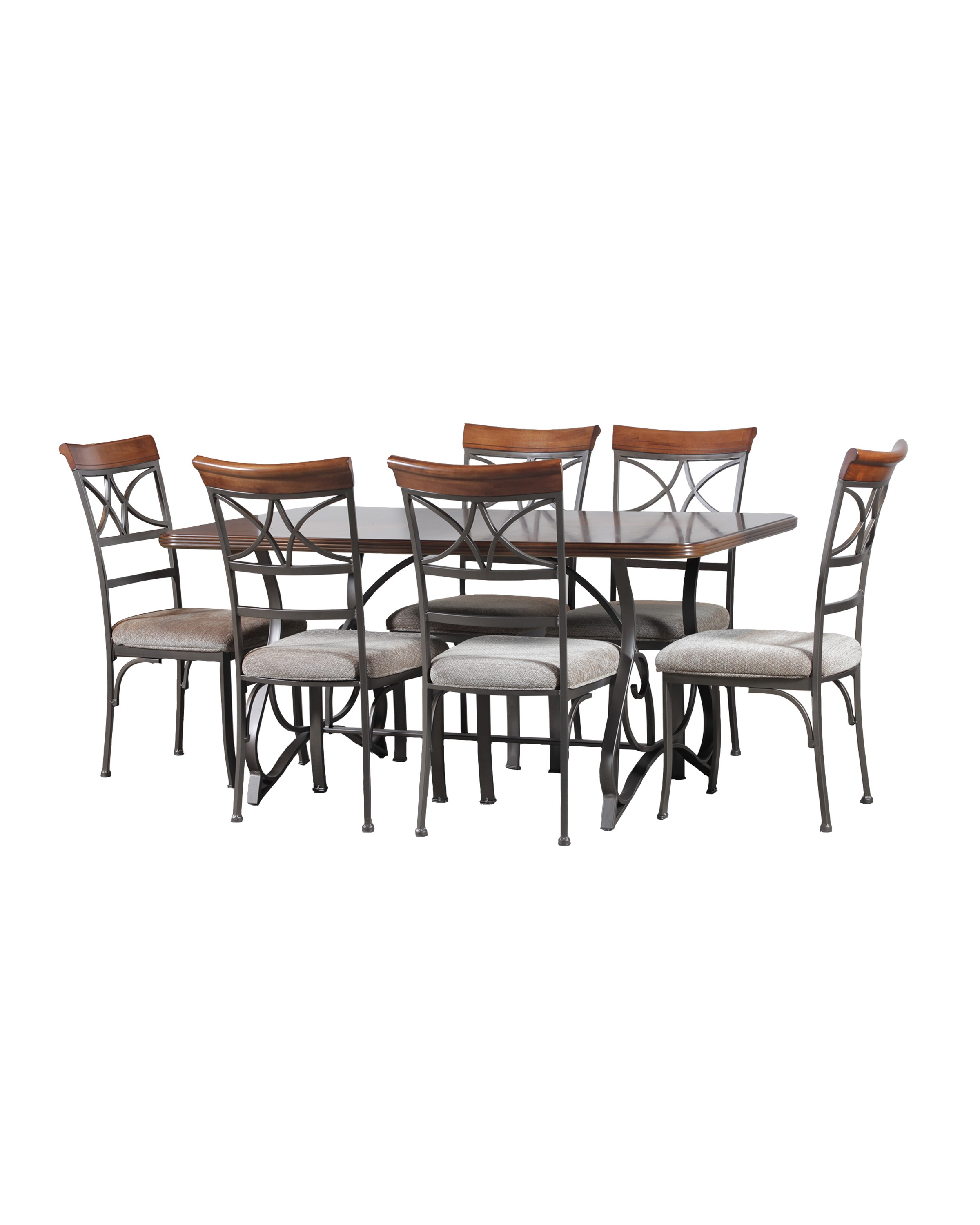 Bedroom Packages: Powell 7 Piece Hamilton Rectangle Dining Table In Brushed