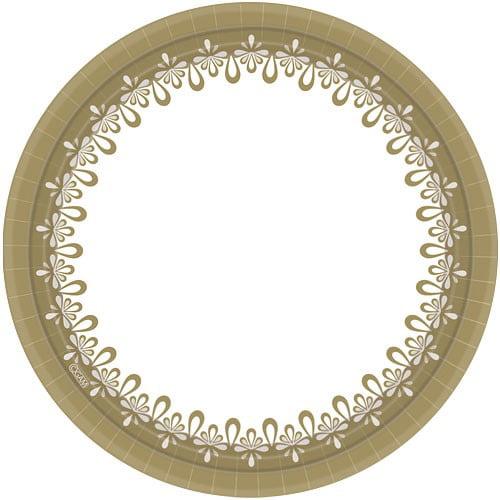 "Hanna K Everyday Ensembles Paper Plates, Round, 10"", Precious Gold, 18 Ct"