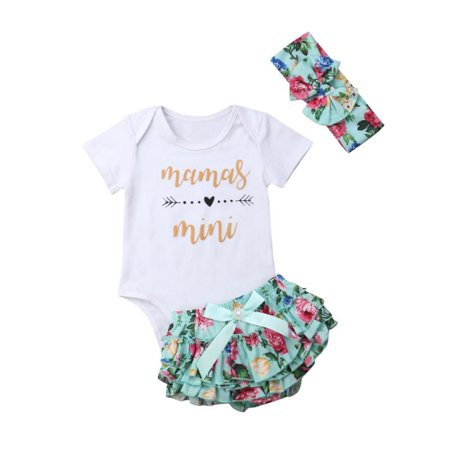 Newborn Baby Girls Clothes Daddy Mommy Outfit Rompers+Ruffel Pants Shorts+Headband 3PCS Clothing Set](Halloween Outfit Dead School Girl)