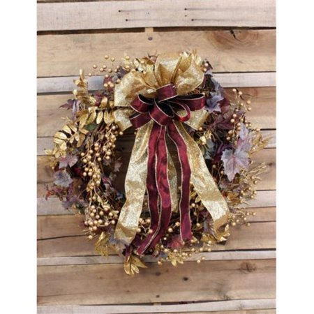 distinctive designs xa-252 frosted grape leaf wreath with metallic gold leaves and berries accented with gold and burgundy ribbons - metallics Gold Grapes Accents