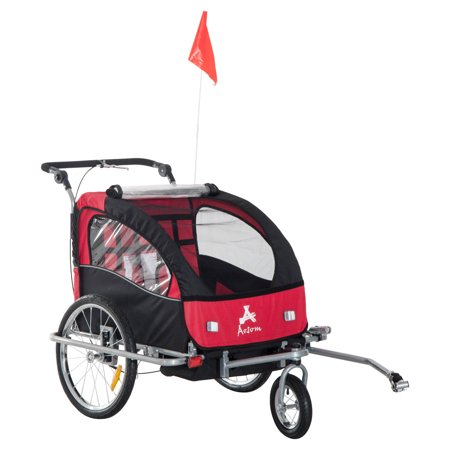 Aosom Elite II 3-in-1 Double Child Bike Trailer/Stroller/Jogger,