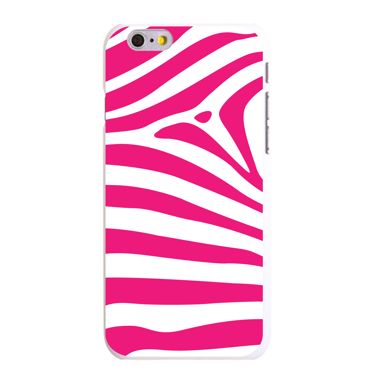 "CUSTOM White Hard Plastic Snap-On Case for Apple iPhone 6 PLUS / 6S PLUS (5.5"" Screen) - Hot Pink & White Zebra Skin Stripes"