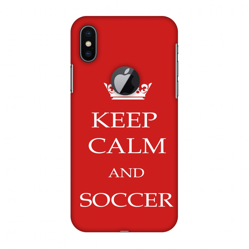 iPhone X Case - Soccer - Keep Calm And Soccer - Red, Hard Plastic Back Cover, Slim Profile Cute Printed Designer Snap on Case with Screen Cleaning Kit