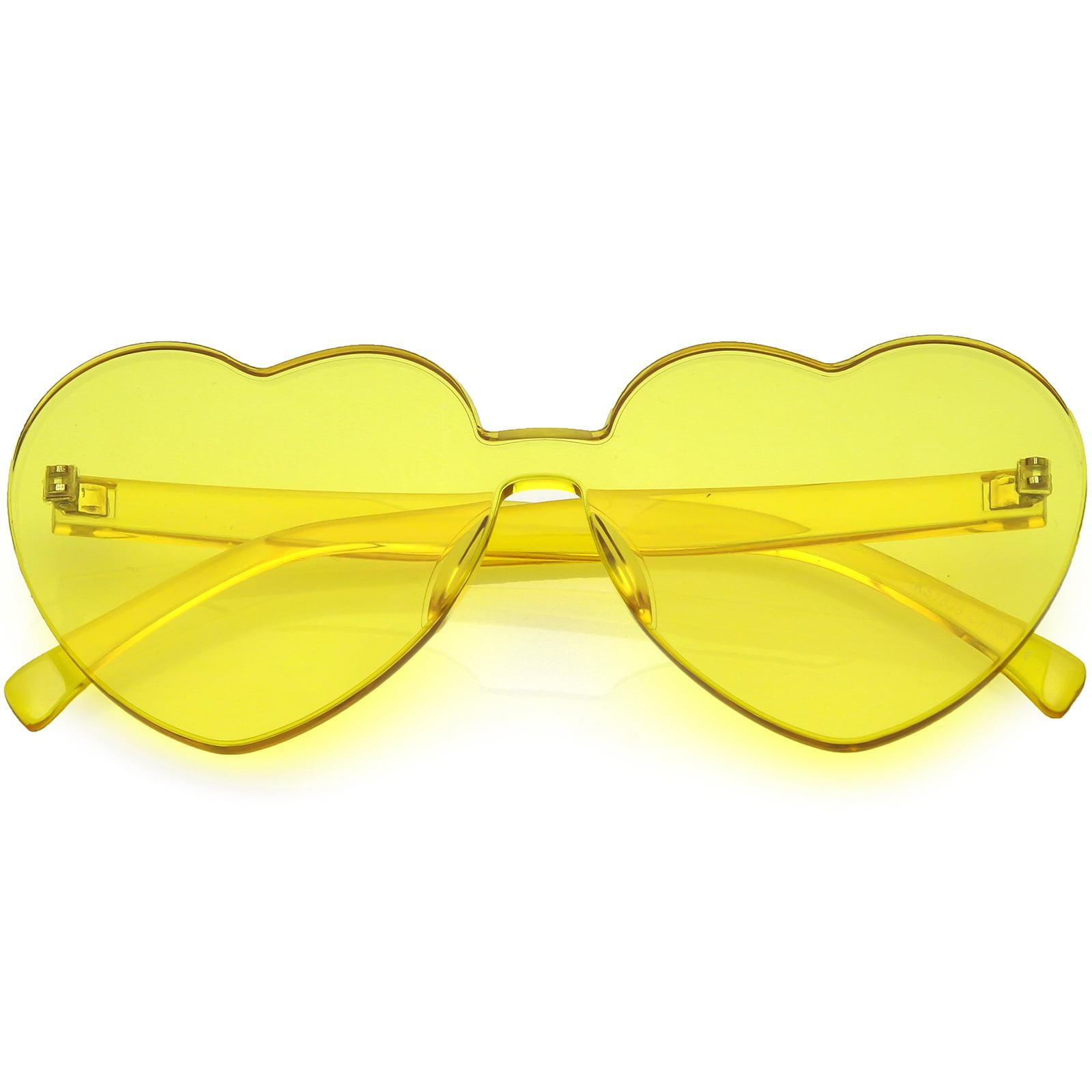 sunglassLA - One Piece Rimless Heart Sunglasses Color Tinted Mono Block Lens 65mm - 65mm