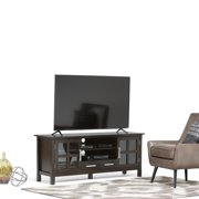 WyndenHall  Waterloo Solid Wood 60 inch Wide Contemporary TV Media Stand in Dark Walnut Brown  For TVs up to 65 inches