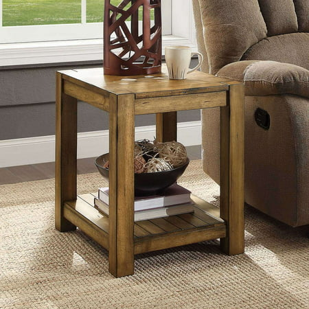 Better Homes & Gardens Bryant Solid Wood End Table, Rustic Maple Brown Finish Craftsman Wood Finish Table