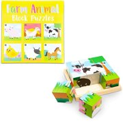 Wood Farm Animal Block Puzzles with Tray, Wooden Educational Preschool Learning Toys for Babies Toddlers Kids Age 1 2 3 Boys and Girls (6 in 1), 6 Designs