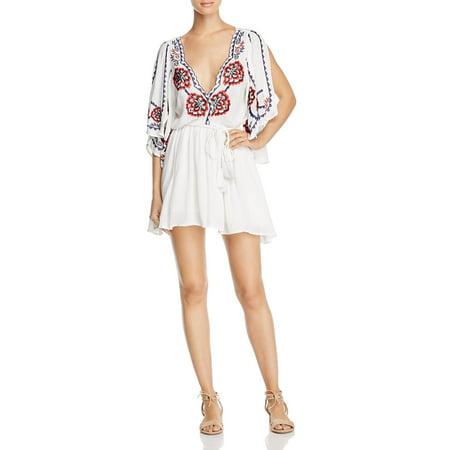 - Free People Womens Cora Caftan Embroidered Mini Dress Ivory XS