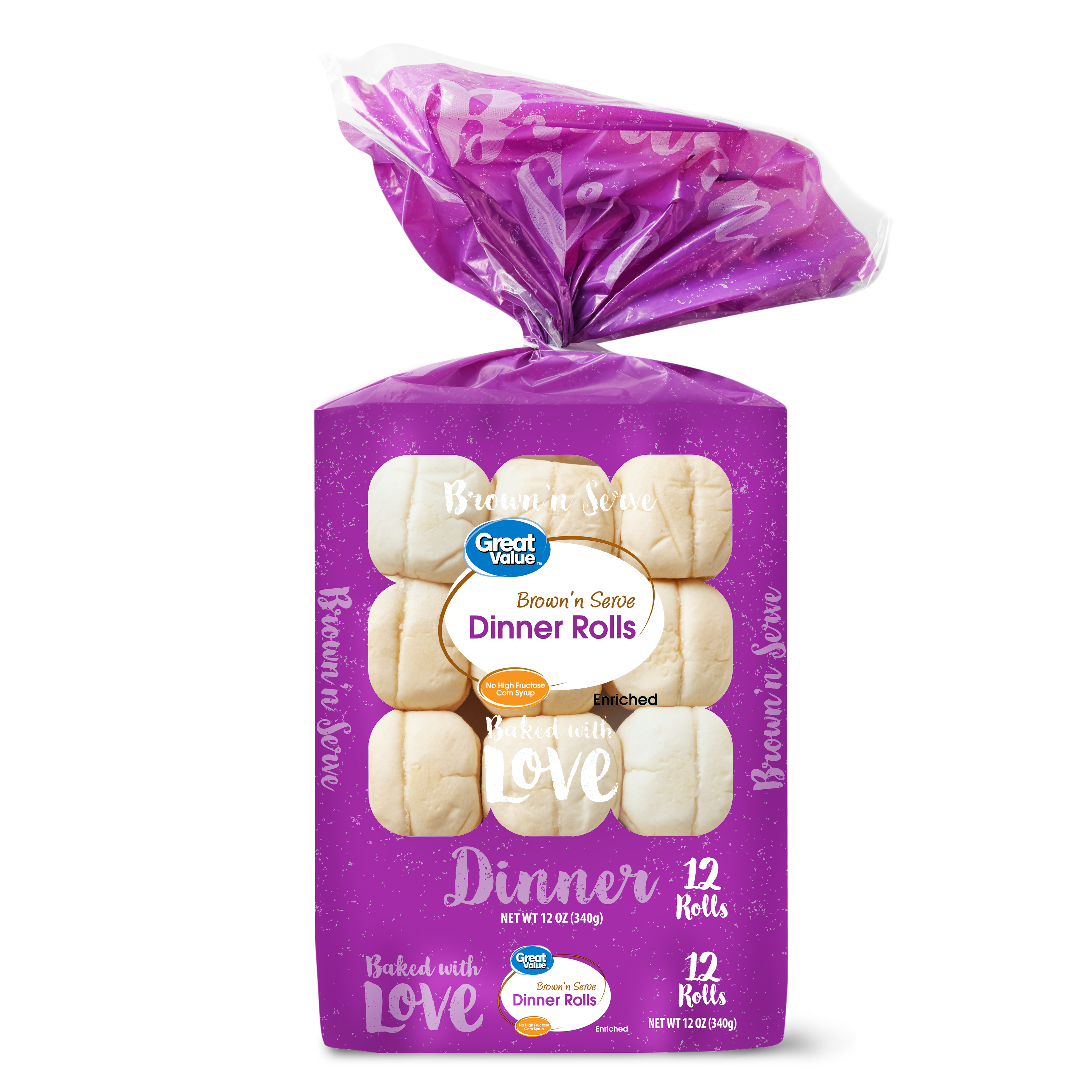 Great Value Brown and Serve Dinner Rolls, 12 Count