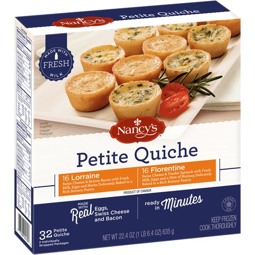 Nancy's Lorraine & Florentine Petite Quiche, 32 count, 22.4 oz