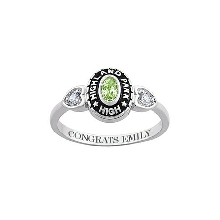 Personalized Women's Sterling Silver Oval Birthstone with Cubic Zirconia Accents Class Ring