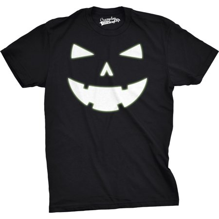 Mens Happy Tooth Glowing Pumpkin Face Glow In The Dark Halloween Tee (Glow In The Dark Rave Clothes)
