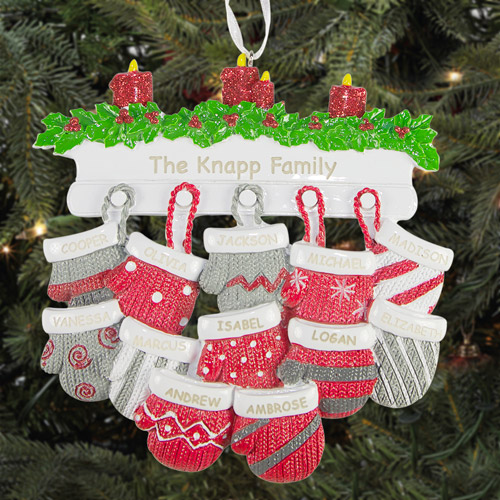 Personalized Hanging Mittens Christmas Ornament, 12 People