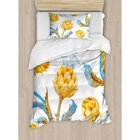 Artichoke Duvet Cover Set, Abstract Colored Vegetables in Art Nouveau Watercolored Design, Decorative Bedding Set with Pillow Shams, Sky Blue and Earth Yellow, by Ambesonne ()