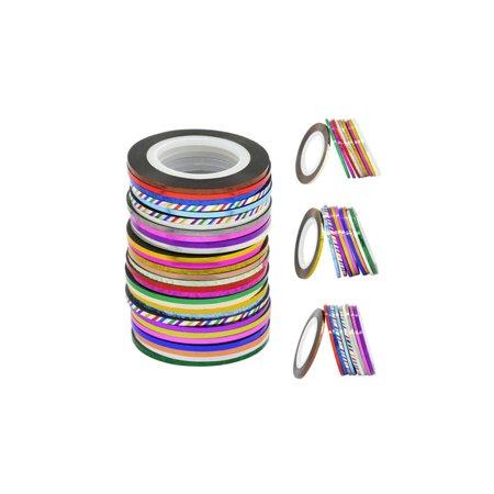 30 pcs Mixed Colors Rolls Striping - Mic Tape