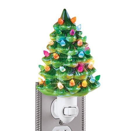 Ceramic Christmas Tree Night Light 6 H Nostalgic Decorative Bathroom Decoration