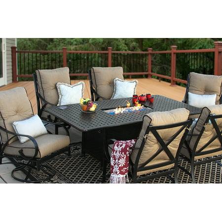 Newport Cast Aluminum Outdoor Patio 7pc Set 44x84 Dining Fire Table