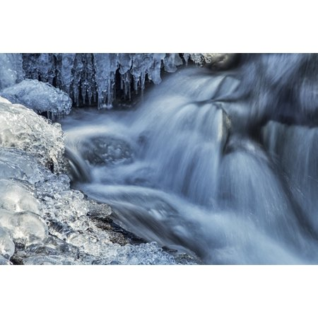 Nova Waterfall - Icicles and blue shadowed cascades on a small waterfall Enfield Nova Scotia Canada Poster Print by Irwin Barrett  Design Pics