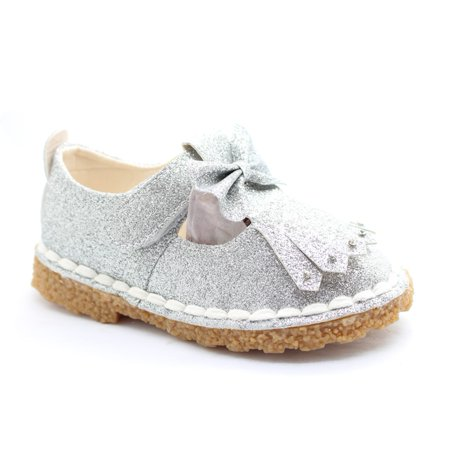 Little Girls Silver Glitter Bow Rhinestud Accent Dress Shoes