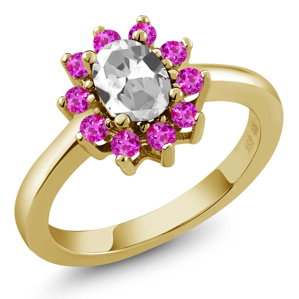 1.45 Ct Oval White Topaz Pink Sapphire 14K Yellow Gold Ring by