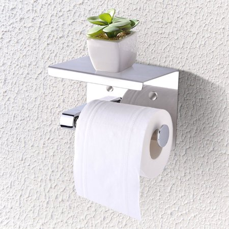 YOSOO Wall Mounted Toilet Paper Roll Holder, SUS304 Stainless Steel Bathroom Tissue Holder with Mobile Phone Storage Shelf for Kitchen Bathroom Washroom Toilet Paper Holder Storage Rack Shelf (Mounted Toilet Paper)