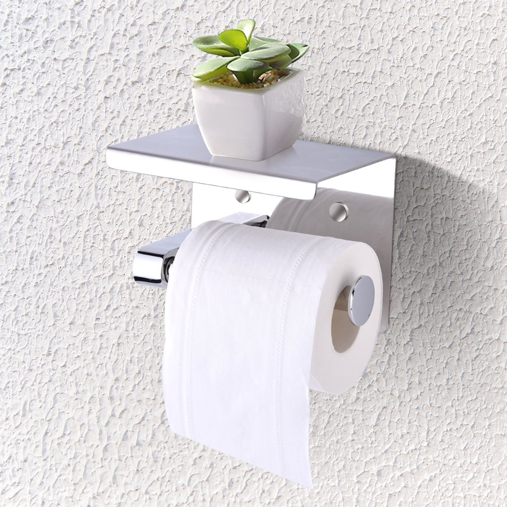 YOSOO Wall Mounted Toilet Paper Roll Holder, SUS304 Stainless Steel Bathroom Tissue Holder with Mobile Phone Storage Shelf for Kitchen Bathroom Washroom Toilet Paper Holder Storage Rack Shelf