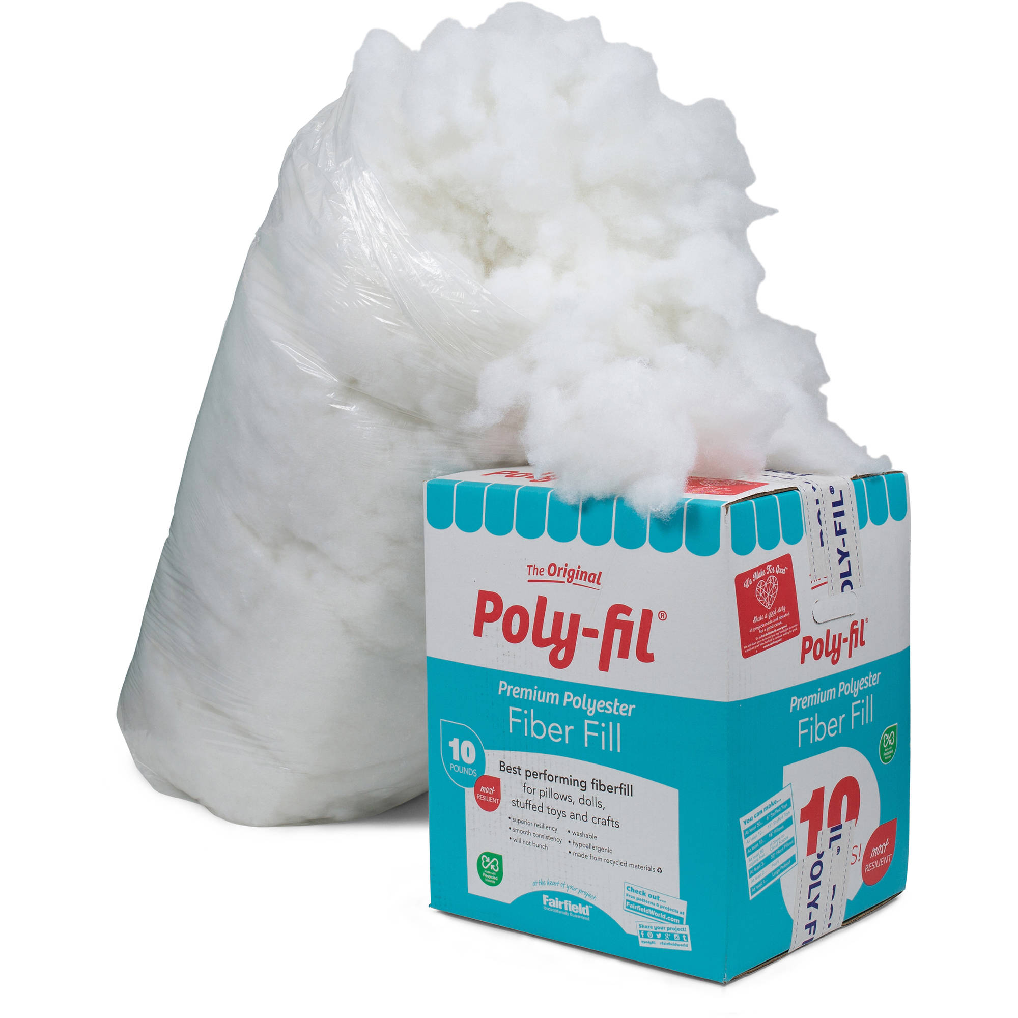 Fairfield 10-Pound Poly-Fil Premium Polyester Fiber, White