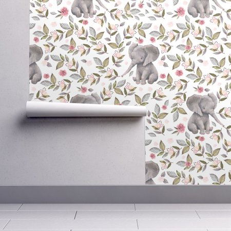 Wallpaper Roll Elephant Baby Nursery Girl Pink Roses Flowers 24in x 27ft (Pink Pastel Wallpaper)