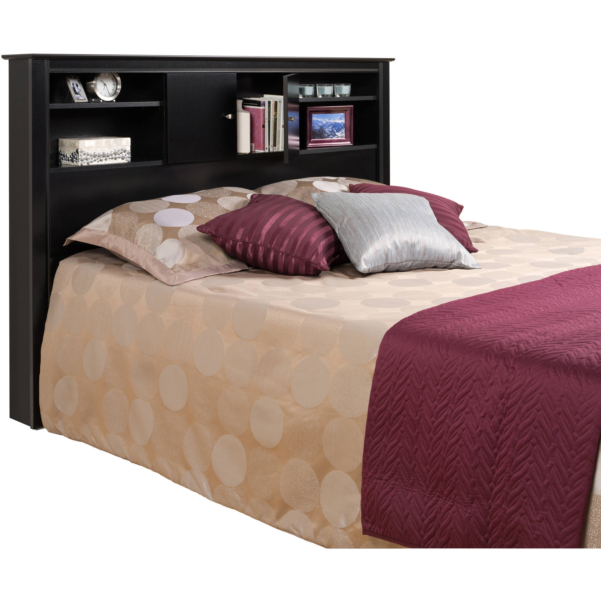 Prepac Black Kallisto Bookcase Headboard with Doors - Walmart.com