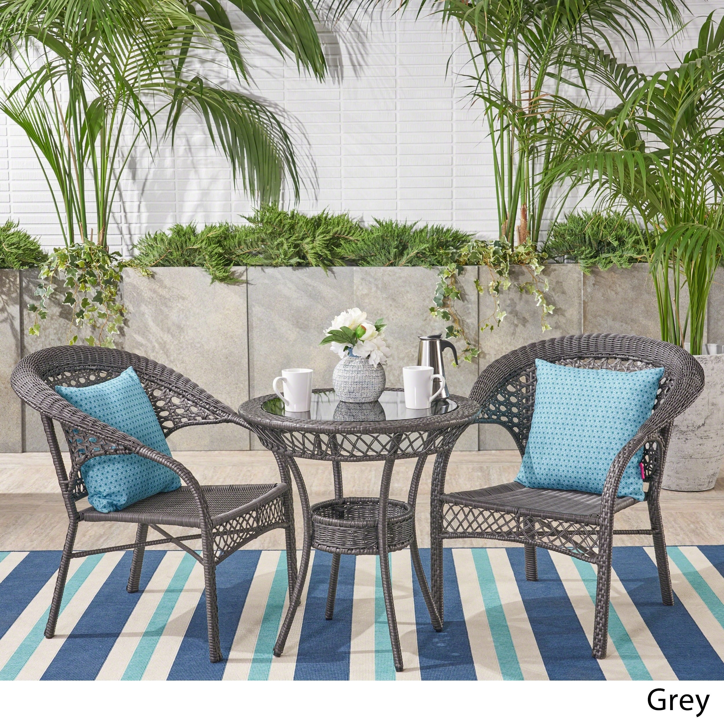 Christopher Knight Home Outdoor Wicker 3-piece Bistro Set by