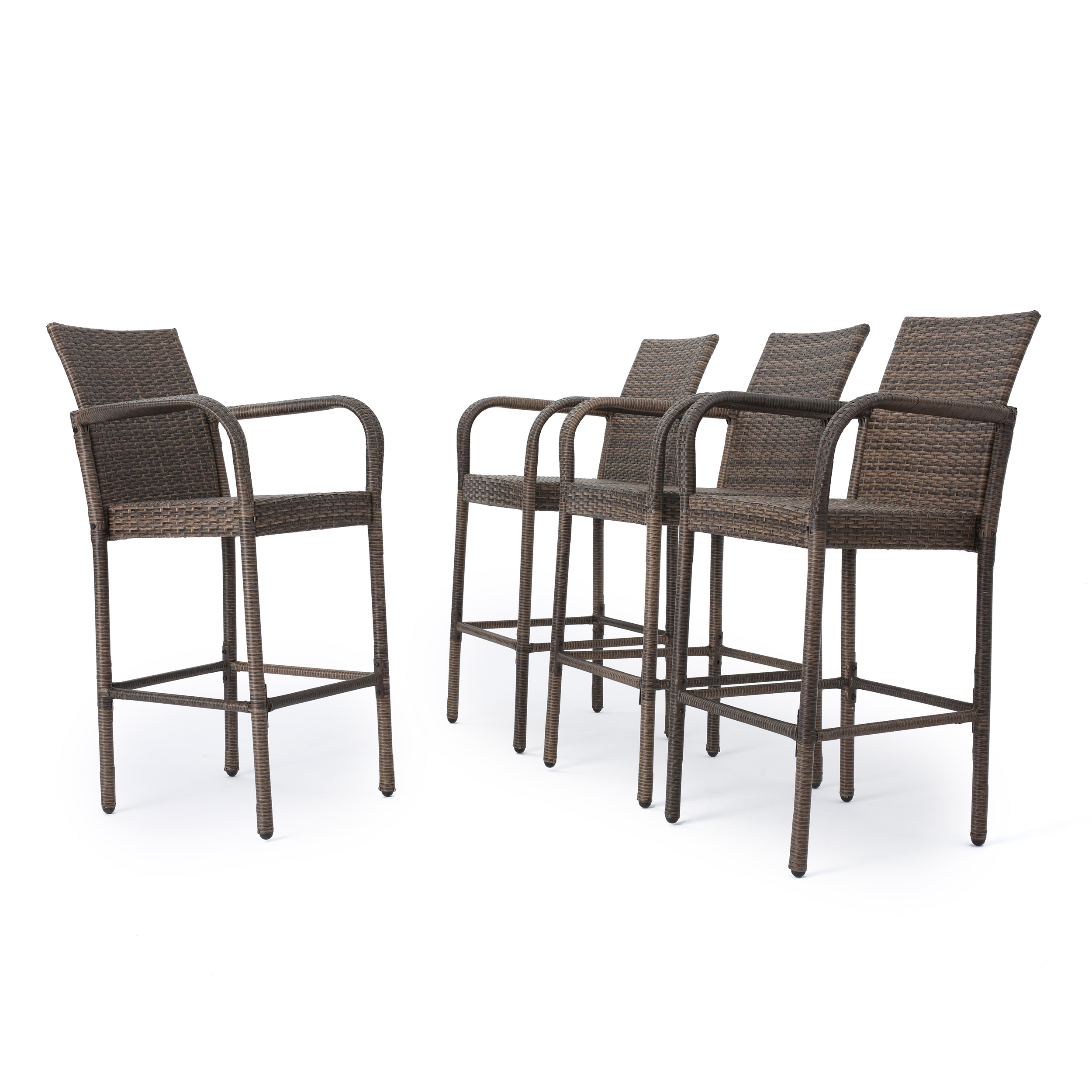 Conquista Outdoor Wicker Barstool with Iron Frame, Set of 4, Mix Mocha