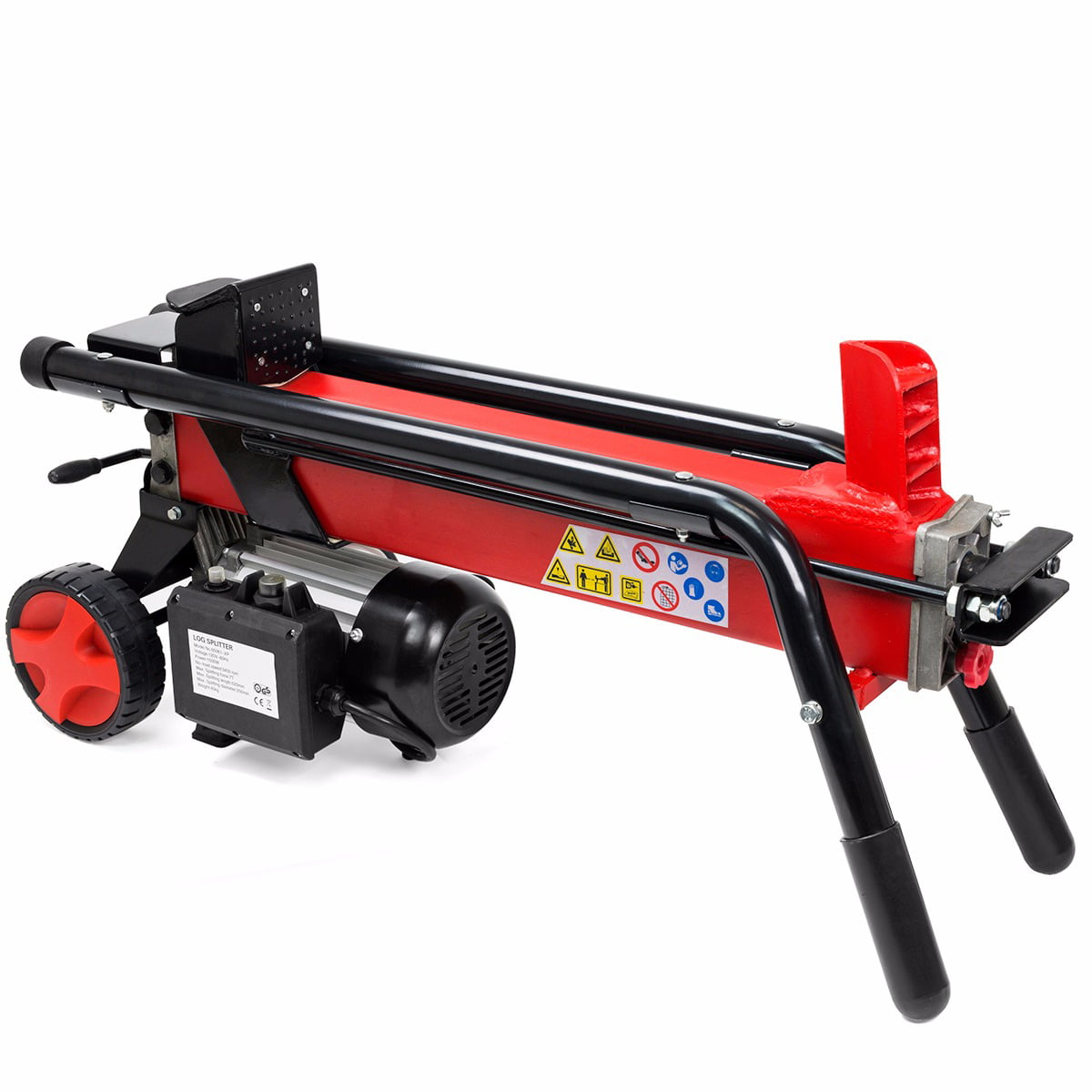 "7Ton Electrical Hydraulic Log Splitter Cutter 7"" Mobile Wheels, Red by Log Splitters"