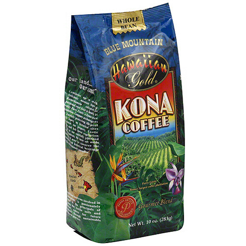 Hawaiian Gold Kona Blue Mountain  Coffee Beans, 10 oz (Pack of 6)