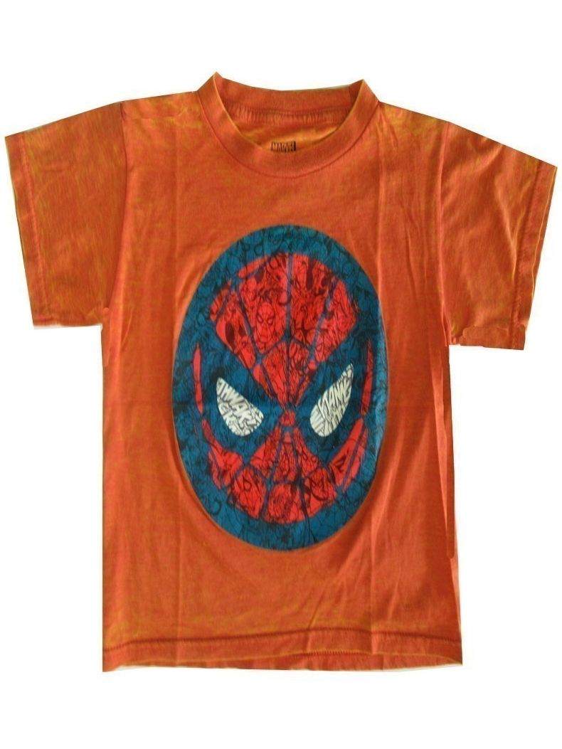 Marvel Little Boys Orange Spiderman Face Print Short Sleeve T-Shirt