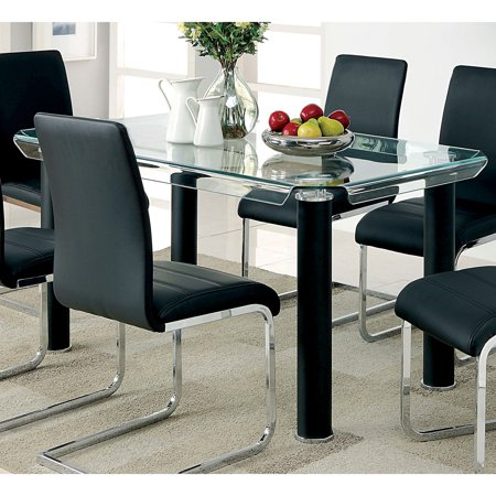 Furniture of America Verdii Contemporary Style Bent Glass Top Dining