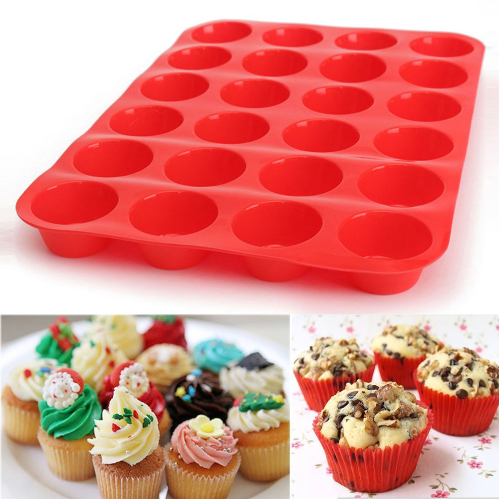 Womail 24 Cavity Mini Muffin Silicone Soap Cookies Cupcake Bakeware Pan Tray Mould