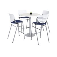 "KFI 36"" Round Bistro Table, Designer White Top, 4 Kool Stools, White/Navy"