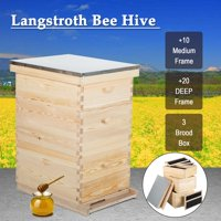 Beekeeping Wooden House Beehive Box w/ 7PCS Auto Flow Frame Food-Grade