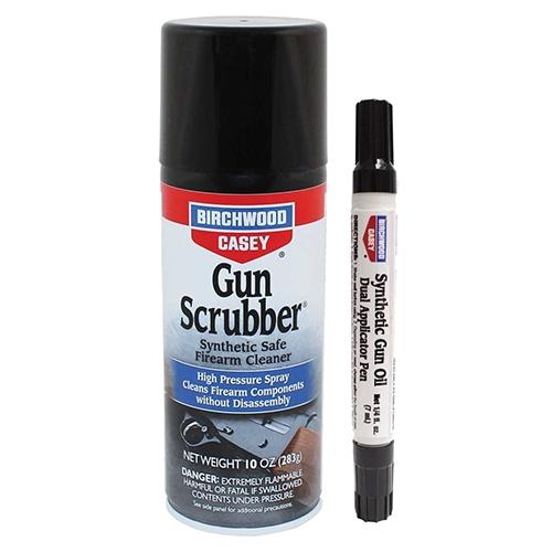 Birchwood Casey Gun Scrubber, Aerosol Can & Pen, 10oz, Gun Scrubber & Oil Pen Combo, 6 Pack 33321
