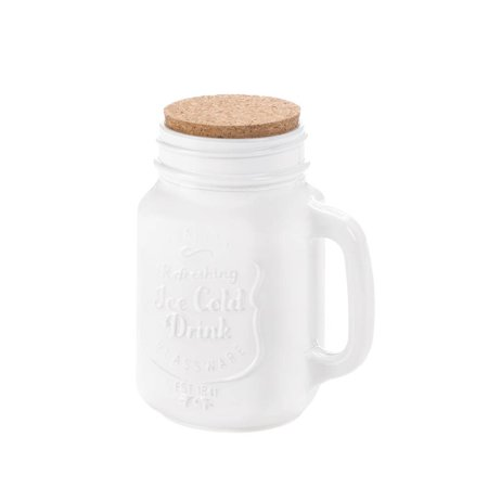 Mason Jar Lids, Vintage Glass Mason Jars Containers With Cork Lid - White