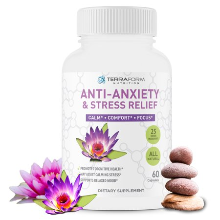 Premium Anxiety and Stress Relief Supplement – Natural Formula Supports a Calm, Positive Mood – Stress Support, Anti-Anxiety, Mental Focus & Relaxation – Made in USA – 1 Month