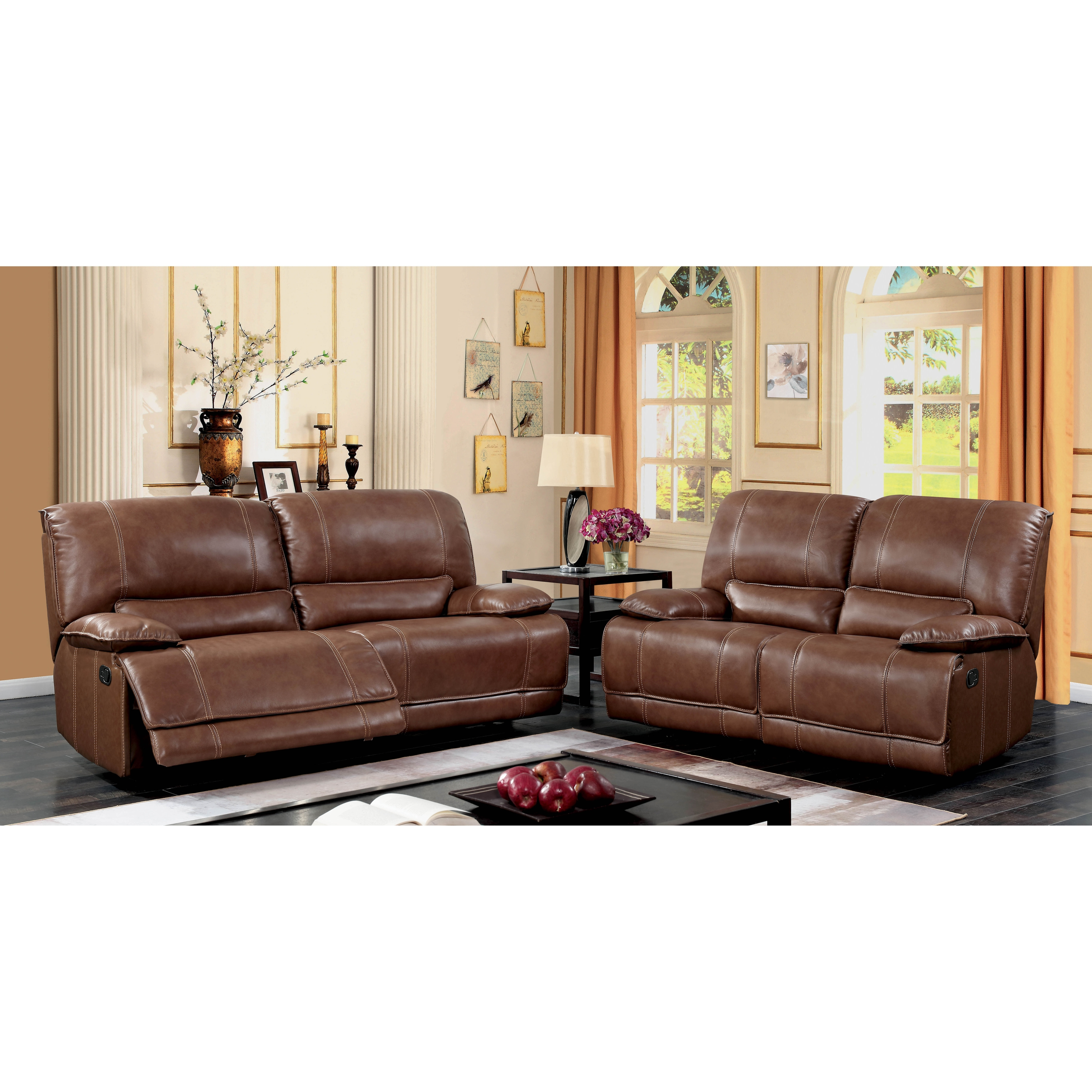 Furniture of America Cameron Brown Leather Recliner Sofa and Love Seat Set