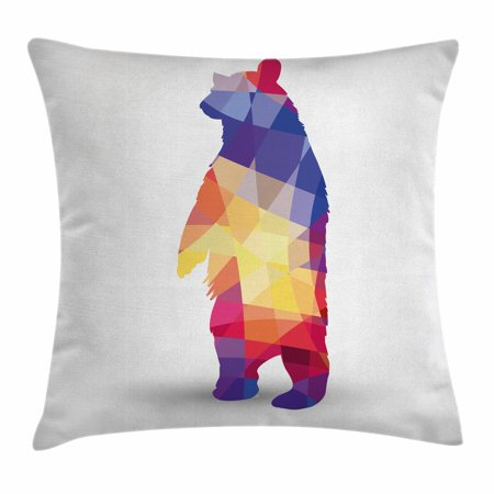 Animal Throw Pillow Cushion Cover, Silhouette of Wild Bear with Geometric Fractal Shapes Colorful Origami Inspired, Decorative Square Accent Pillow Case, 18 X 18 Inches, Multicolor, by Ambesonne (Wild Animal Silhouette)