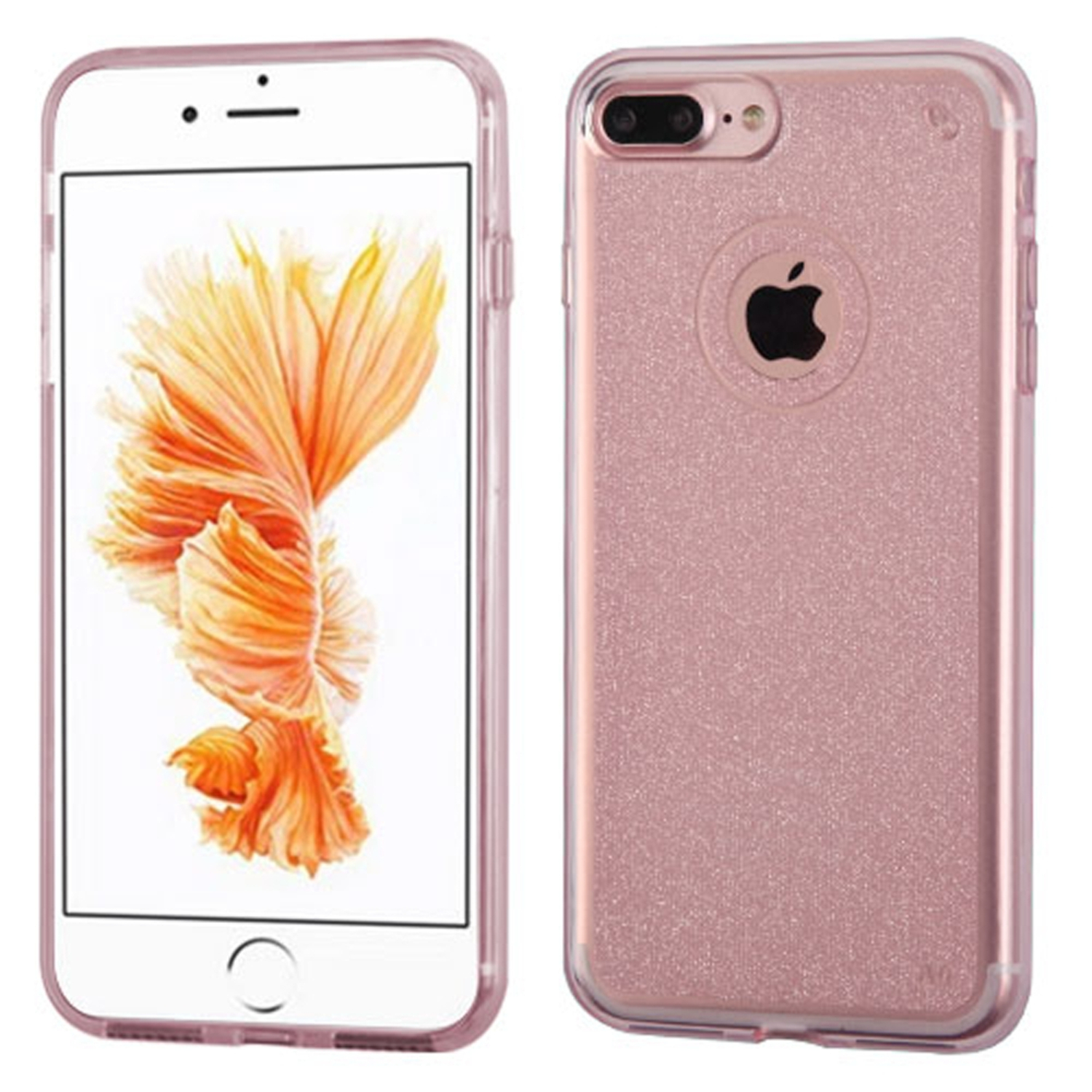 Insten Transparent Rose Gold Bling Glitter Flexible TPU Rubber Skin Case For Apple iPhone 7 Plus