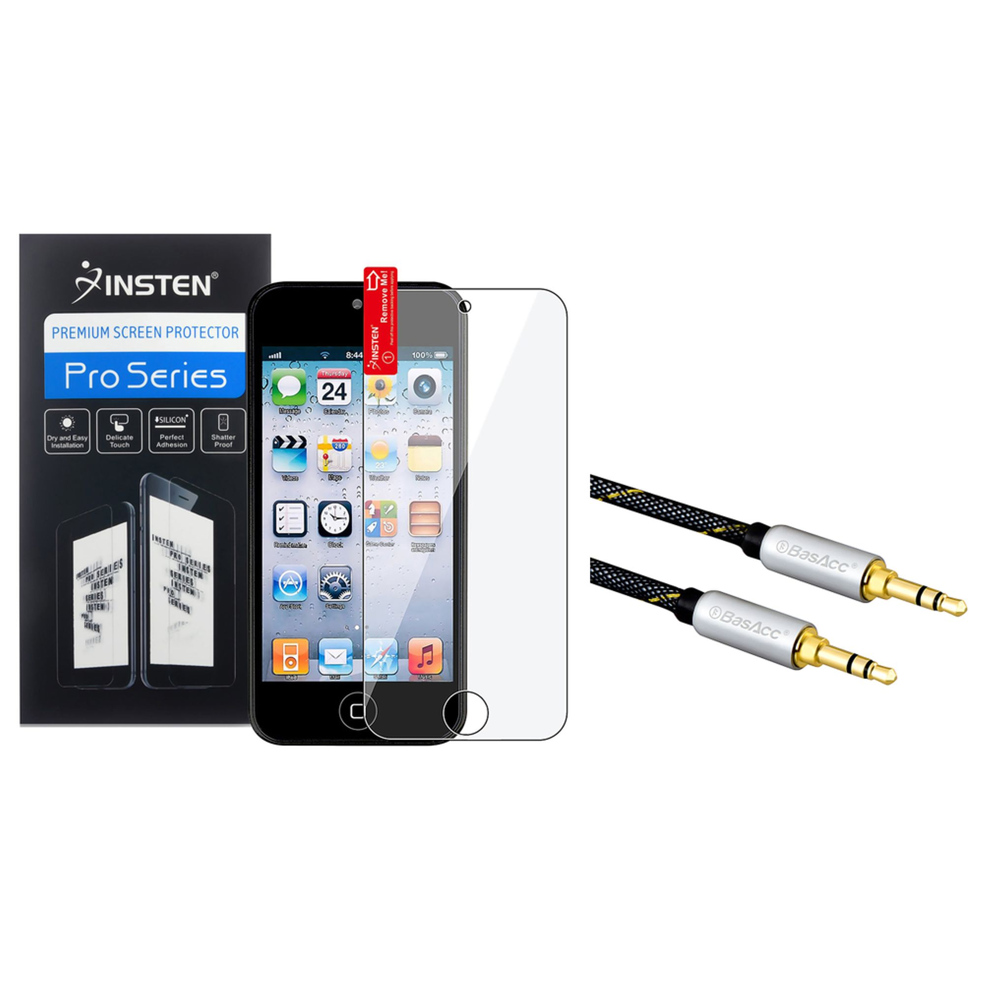 Insten Screen Protector For Apple iPod touch 6th 5th Generation (+3.5mm Aux Auxiliary Audio Stereo Extension M/M Cable)