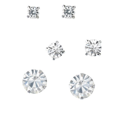 Faux-Diamond Round Cut Silver Tone Stud Earrings (3 Pairs) By, JADA