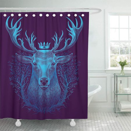 SUTTOM Black Forest Deer Head Graphic of Whitetail Crown Shower Curtain 66x72 inch Whitetail Deer Shower Curtain