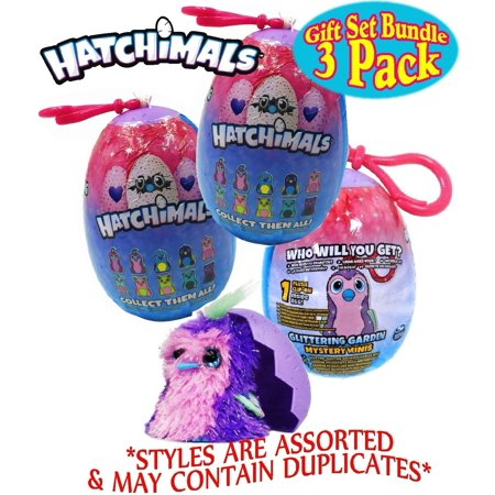 Matty's Toy Stop Hatchimals Glittering Garden Surprise Mystery Mini Plush Clip-On in an Egg Gift Set Party Bundle - 3 Pack (Assorted) (Toys In Eggs)