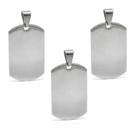 Tiffany Engraved Round Tag - 3 Stainless Steel Dye Stamping Engraving Blanks Tags Round Bail 1 3/4 Inch