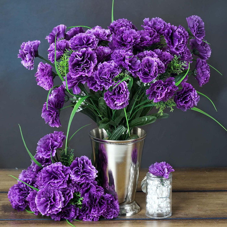 252 Mini Silk Carnations Wedding Flowers SALE - Purple, U...